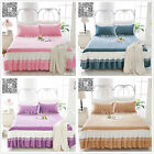 Solid King/Queen Size Pleated Valance/Bed Skirt Set 5 Designs Cotton Clip Lace