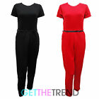 Womens Ladies Celeb Inspired Black Red Scuba Jumpsuit Long Belted Trouser Suit