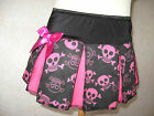 NEW Girls Pink black Funky Skulls Cheerleader Skirt rock goth Gift Party Pirate