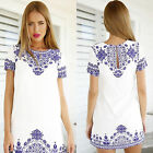 Summer Sexy Women Short Sleeve Top Party Porcelain Print Casual Mini Shift Dress