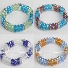 Faceted Abacus Rondelle Crystal Glass Bead Spacer Elastic Bangle Bracelet Gift
