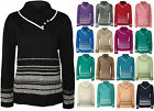 New Womens Plus Size Button Striped Long Sleeve Top Ladies Knitted Jumper 14-20