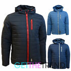 Mens Crosshatch Winter Padded Hooded Bomber Jacket Designer Thick Raincoat S-XL