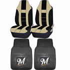 MLB Milwaukee Brewers Rubber Floor Mat High Back Seat Cover Universal Combo on Ebay