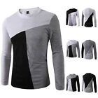 New Mens Casual Slim Fit Shirt 3 Color Long Sleeve Round Neck T-Shirt Tops Tee