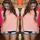 Women Summer Vest Top Lace Short Sleeve Blouse Casual Tank Tops T-Shirt