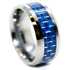 10mm Tungsten Carbide Blue Carbon Fiber Wedding Band Size 7-17