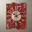 "NEW Rustic 15"" Antique Vintage RED/Blue Clock Wall Country Large Art Home Decor"