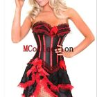 Red Lingerie Wedding Basque Satin Lace up Boned Corset Top with Skirt Set S-2XL