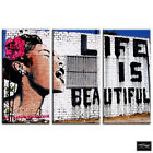 Life is Beautiful    Banksy Street BOX FRAMED CANVAS ART Picture HDR 280gsm