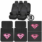 Synthetic Leather Seat Cover Set Supergirl Shield Rubber Floor Mat Universal
