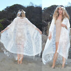 Sheer Silk Burnout Velvet Fringe Boho Gypsy Cape Kimono Jackets 9 Colors Avail.