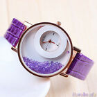 Ladies Stylish Fashion Leather Watches Quicksand Rhinestone Quartz Wristwatch