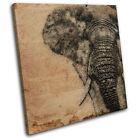 Elephant Sketch Aged  Animals CANVAS WALL ART Picture Print VA