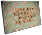 Scrabble Vintage Floral  Typography CANVAS WALL ART Picture Print VA