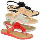 Ladies Sandals Womens Flower Buckle Mule Slippers Toe Post Flat Beach Summer New