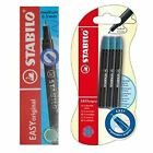 Stabilo Easy Original Rollerball 0.5mm Turquoise Blue Refills - Pack of 3, 6, 9