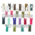 "No.3 CLOSED END 18"" 20"" 22"" 24"" 26"" NYLON ZIPS *47 COLOURS* SEWING ZIPPER REPAIR"