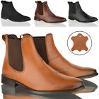 Mens boys casual formal office work leather slip pull on chelsea ankle boots