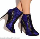 """Athena Kate Electric Blue 4"""" Heel Pointy Toe Ankle Boot Bootie Sizes  6.5-11"""