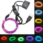 Cool Flexible EL USB Wire Neon LED Strip Glow Tube Party Chirstmas 1/2/3/4/5/8M