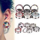 1pc 3-14mm Crystal Steel Double Flared Ear Stretcher Flesh Tunnel Plugs Piercing