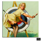 Vintage Girl   Retro Pin-ups BOX FRAMED CANVAS ART Picture HDR 280gsm