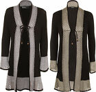 New Womens Open Knit Crochet Detail Long Sleeve Tie Up Ladies Cardigan Top 8-14