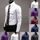 Fashion Men Button New Stylish Casual Dress Slim Fit T-Shirts Casual Long Sleeve