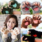 Fashion Winter Women Paw Gloves Fingerless Fluffy Bear Cat Plush Paw Cute