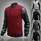 Mens Letterman Varsity Baseball Jacket/College SPORTS Military PU Leather Coats
