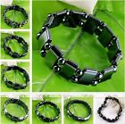 Stretchy Hematite Metal Magnetic Therapy Rectangle Round Beads Bracelet Bangle