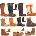 Womens ladies Timberland knee high calf riding winter fur combat leather boots