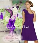 ASHA Cadbury Purple Knee Length Corsage Chiffon Bridesmaid Dress Sizes UK 6 - 18