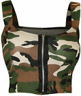 New Womens Army Camouflage Print Zip Short Boobtube Bralet Ladies Crop Top 8-14