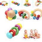 Baby Kid Infant Wooden Musical Instrument Toy Rattle Jingle Hand Bell Ring Gifts