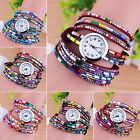 Chic Hot Woman Multilayers Colorful Beads Crystal Quartz Bracelet Wrist Watch