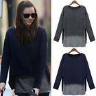 Oversized Womens Long Sleeve Fake Two-Piece Baggy T-Shirt Blouse Top Plus XL-5XL
