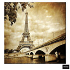 Architecture Eiffel Tower Paris  BOX FRAMED CANVAS ART Picture HDR 280gsm