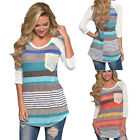 Women Long Sleeve Lace Round Neck Summer Casual Shirt Tops Fashion Blouse S ~ XL