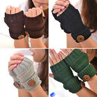 Chic Women Winter Thick Fingerless Mittens Knitted Warm Wrist Arm Long Gloves