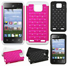 For Paragon Z753G HYBRID IMPACT Diamond Two Layered Phone Case + Screen Guard
