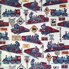 Steam Locomotive train fabric per 1/2 metre/fat quarter 100 % cotton