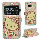 Cute Hello Kitty Flip Smart Cover Stand Leather Case Wallet Skin For HTC ONE