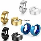 2PCS Stainless Steel Huggie Hoop Ear Hinged Snap Earrings Men's Women's Jewelry