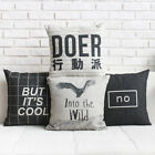 "Simple Creative Letters Pillow Case Cushion Cover Square 18"" Linen Decor"