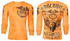 Archaic AFFLICTION Men THERMAL T-Shirt BLACK PLAYER Motorcycle Biker MMA $58 image