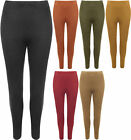 Plus Womens Suede Look Full Length Stretch Pants Trousers Ladies Leggings 12-26