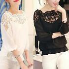 Women Girls 34 Sleeve Lace Hollow T-Shirt Ladies Casual Chiffon Blouse Tops New