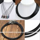 1.0/1.5/2.0mm Waxed Leather Braided Necklace String Cord Finding Chains 18-19.5""